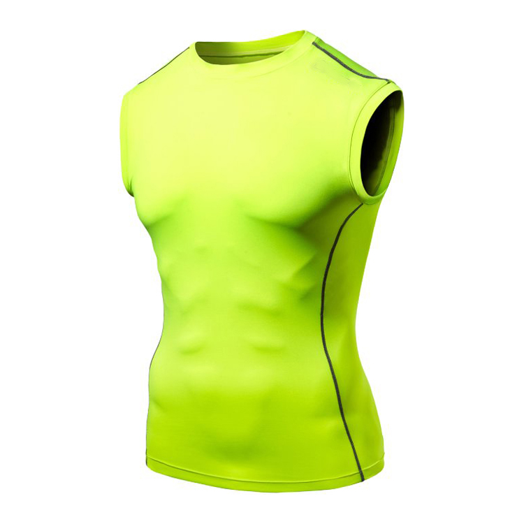 Round neck Cotton Compression Baselayer clothing Sleeveless rash guard vest running T-Shirt And Long Tights