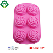 Free Shipping Wholesale pudding making tool cake rose soap mold circle flower wedding soap silicone mould baking tin pans