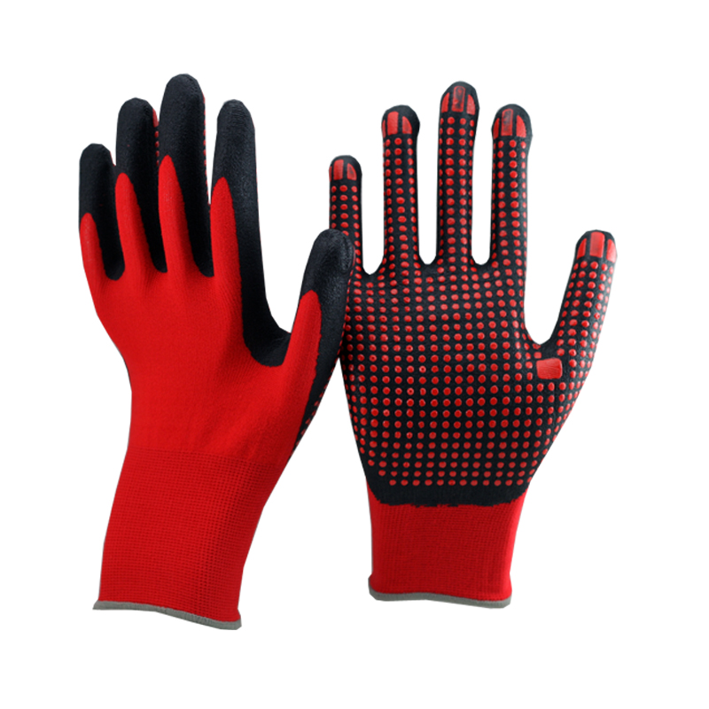 NMSAFETY red nylon liner coated nitrile glove nitrile dots on coating sfety wrok glove improve grip performance