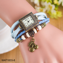 Promotional Vintage Fashion Leather Ladies Bracelet Wrist Watches
