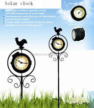 solar powered outdoor stake clock with thermometer and light outdoor garden cock WCO0001
