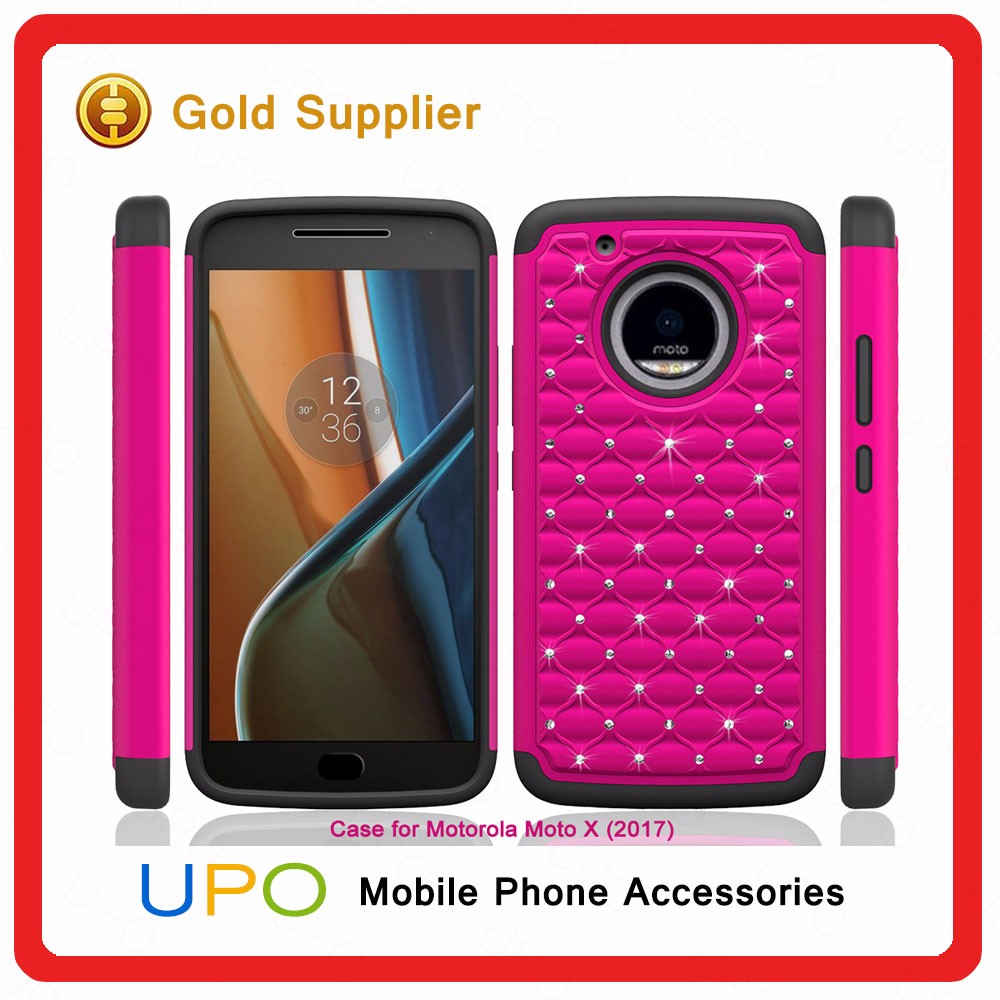 [UPO] 2017 Wholesale Latest Diamond Case Crystal Star Silicon PC Mobile Phone Cover for Moto X(2017) case