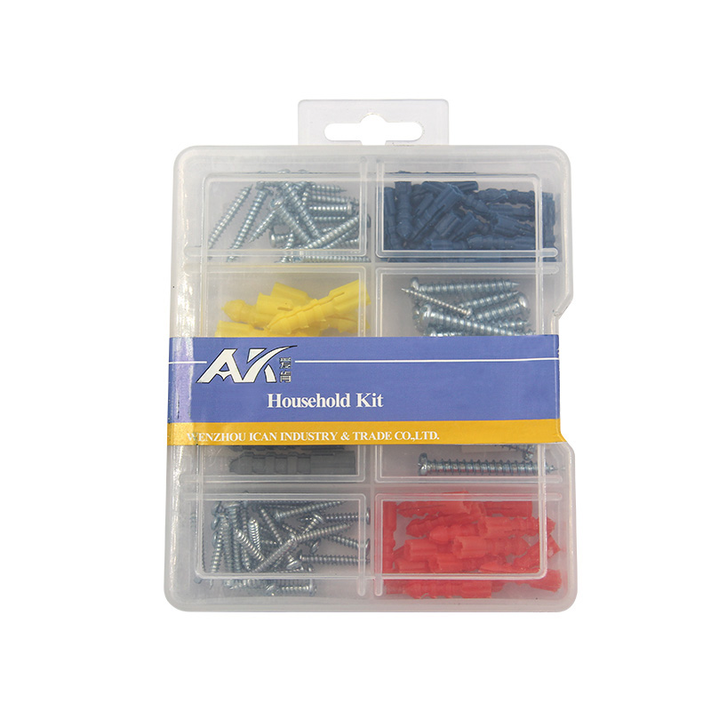 top sales 8 compartment pp box 104pcs pack <strong>screws</strong> &amp; anchors kit including self tapping <strong>screws</strong>,plastic anchors