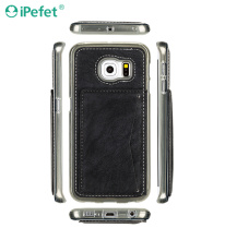 Classic Premium Leather Kickstand Back Phone Case For Samsung Galaxy S6 Edge With Card Slot