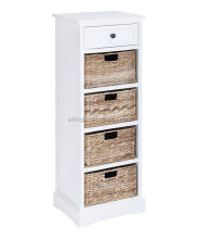 White Wooden Bedside Cabinet Four Drawers Unit Furniture Container Homes