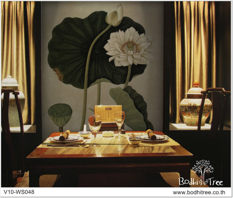 Thai mural art wallpaper special design for wall feature hotel, restaurant and spa