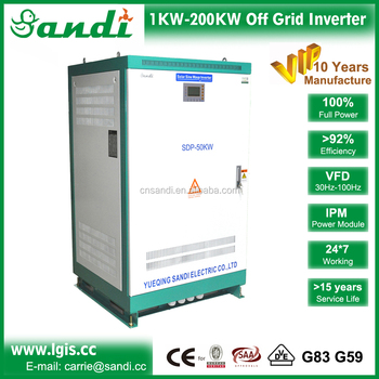 50KW off grid solar inverter/3 phase pure sine wave inverter with VFD for taking electric motor, pump high efficiency