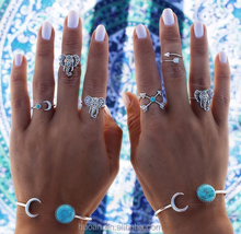 Top quality rings set alloy fashion rings turquoise wholesale rings for stock
