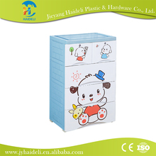 Lovely plastic cosmetic storage cabinet with wheels cartoon drawing storage cabinet