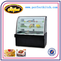 Luxury Single Arc Cake Showcase Refrigerator with Black Mable Base