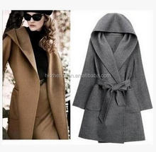Wholesale New korean style woolen women coat long coat with hat