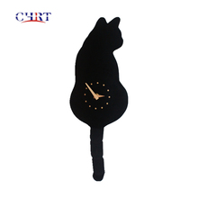 Nueva llegada Kit-CAT reloj lindo gato swing cola gato negro Reloj de pared