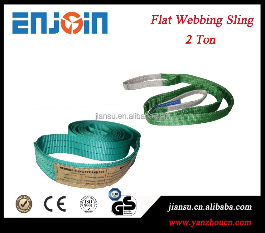 2 T -- 100% high tenacity polyester- Flat webbing sling lifting sling lifting eye-eye belt with CE-GS