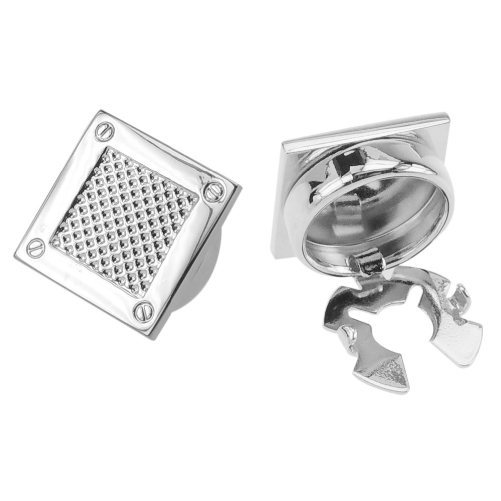 Fashion Mens Silver Spot Square Button Covers
