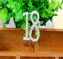 Crystal number Rhinestone Cake Topper for decoretions cake decorating