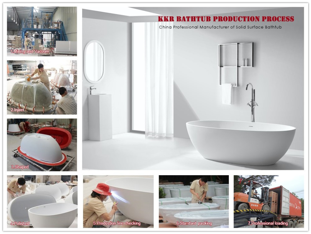 KKR Big Size Solid Surface Freestanding Stone Bathtub