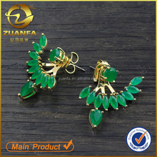 emerald crystal semi joias18k gold plated zircon stone ear jacket