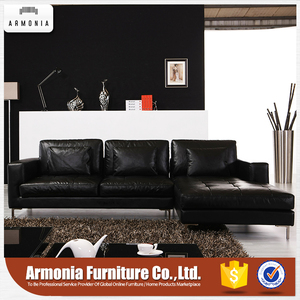 High-end living room luxury black leather l shape sofa bed