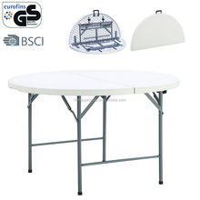 4ft 122cm garden fold in half portable round table with resin top for canteen restaurant