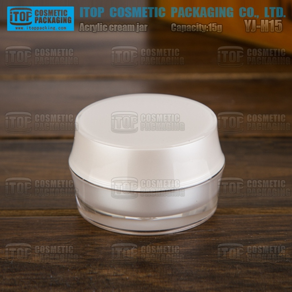YJ-H15 15g use for cosmetics cream beautiful and stable high quality round drum shape 15g acrylic jars