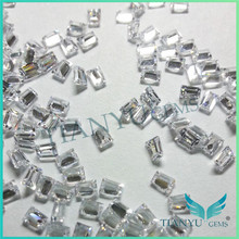 China gemstone manufacturer good price high quality white color ladder square shape cubic zirconia