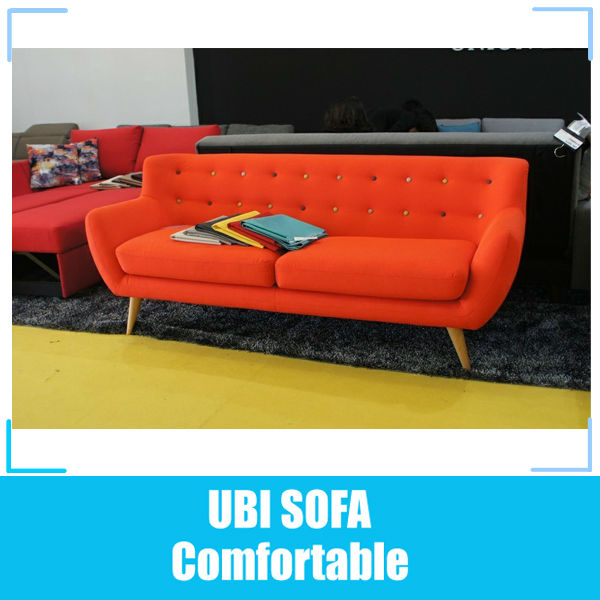 Orange fabric 3 seater <strong>sofa</strong> MY218
