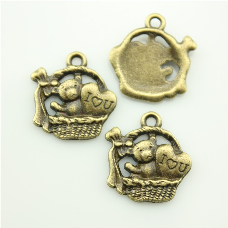 Wholesale Fashion Cute Retro DIY 17*17mm Gift Basket With Toy Bear Charms Antique Bronze Tone Pendant A10546 Jewelry Accessories