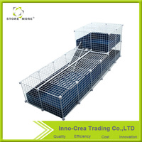 2 Layers Folding Guinea Pig Wire Mesh Pet Cage With PP Sliding Board
