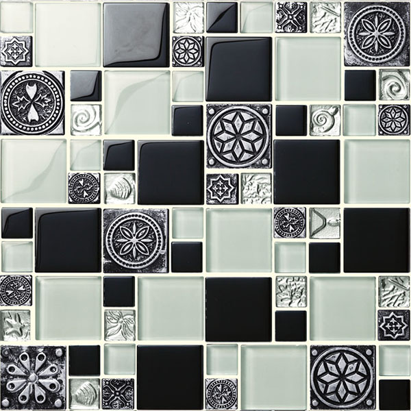 china factory colorful elegant crystal glass mosaic blue shell tile