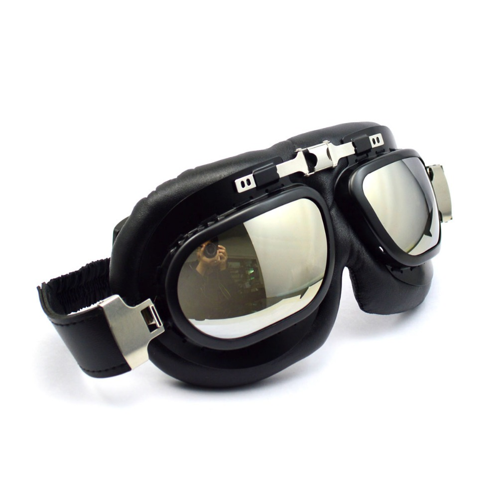 New born adjustable UV protective leather motorcycle goggles