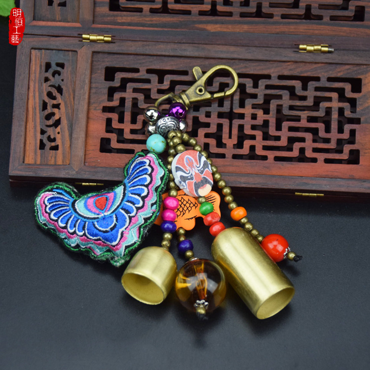 wholesale tourist souvenir gift Handicraft embroidery key chain for home decoration key ring