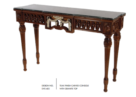 Teak Finish Carved Console Table with Granite Top