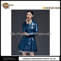 Spring Autumn Women Fashion Leather Trench Coat With Belt