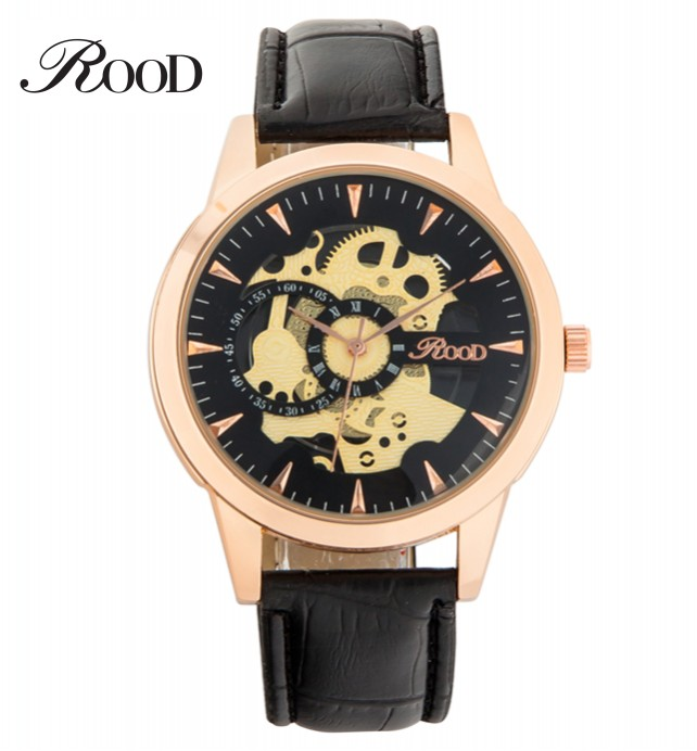 2016 Rood newly design fashion men's wrist watch high quality cheap price 5 colors men hollow skeleton watch clock