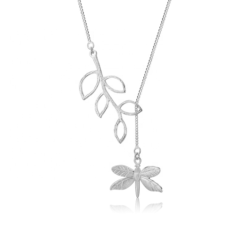 Wholesale <strong>Fashion</strong> 925 Sterling Silver Cute Dragonfly Leaves Christmas Tree Necklace For Women