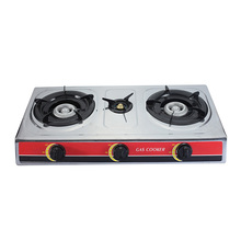 JX-7003F Cheap Price Stainless Steel Biogas Stove Automatic Ignition 3 Burner Portable Gas Stove