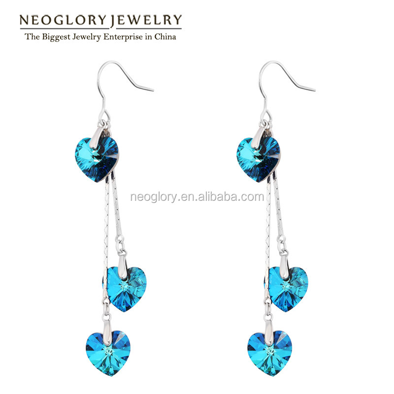 2017 Bermuda Blue Rhodium Heart Shaped Stones Earrings Crystal From Swarovski
