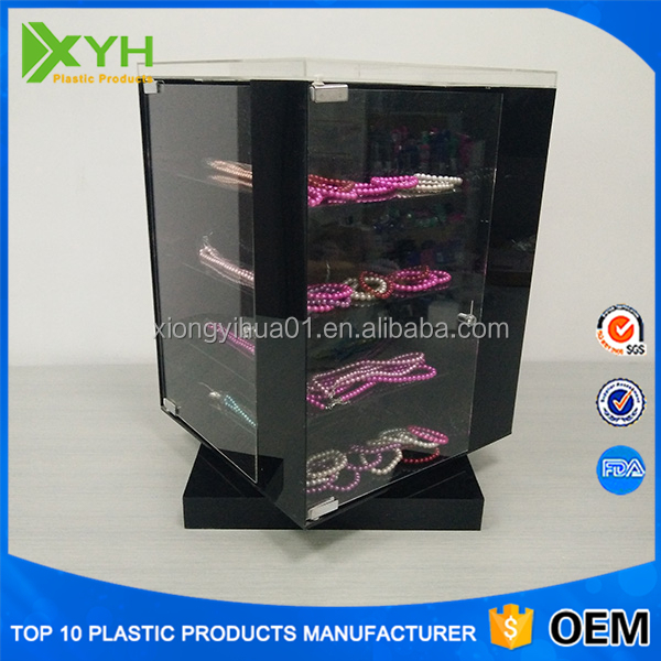 Acrylic Jewellery Window Counter Display With Rotating Base and Doors