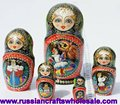 Matrioshka Big and True Nice Made Wood Hand Painted Matryoshka with Ethnic Ornament Russian Crafts Folk Art Wholesale, Russia
