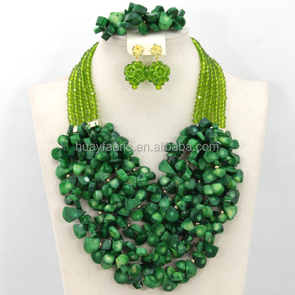 Luxury Green Nigerian Coral Beads Wedding Jewelry Set African Jewelry Sets for Brides 2015 JS0015