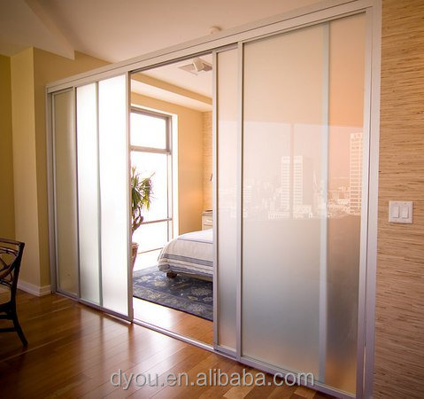 Multi proof frosted sliding glass room dividers from china for Sliding glass panels room dividers