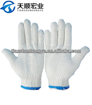 10Guage Bleach White Cotton Knitted glove Safety gloves