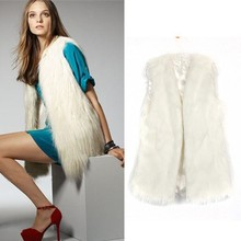 Chic Lady Faux Fur Vest Warm Outwear Long Hair women sexy leather pvc coat 18820#