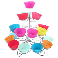 New Stainless steel 4 Tiers 23cups Spin Christmas Cupcake Stand Fondant Dessert Cake Decorating Tools