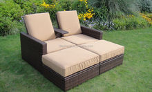 All weather outdoor rattan garden furniture sun wicker relex chaise lounge furniture