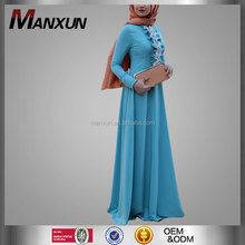 Modern Muslim Ladies Abaya Dubai Dresses Indian Ethnic Dresses Wholesale Islamic Clothing Blue Crepe Fabric Long Maxi Dress