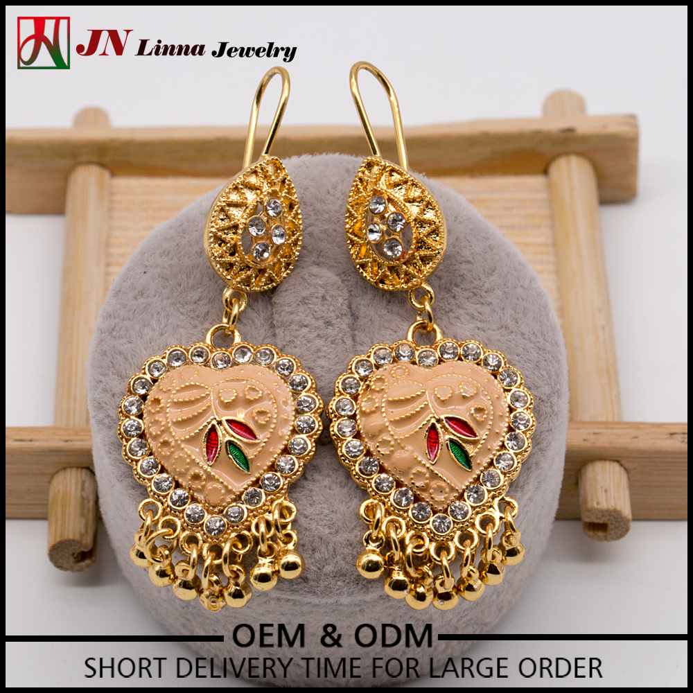 JN1080 Top Selling Unique brass copper material heart drop cubic zirconia earrings Indian jewelry