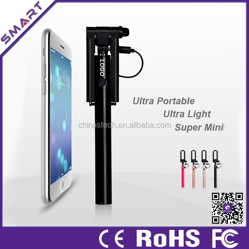Trending productos calientes 2015 Mejor Mini selfie Stick, plegable Monopod Wired selfie palillo con control remoto