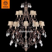 Large Villa 15 lights Tortoised leather crackle finished Metal crystal diamond drops for chandelier