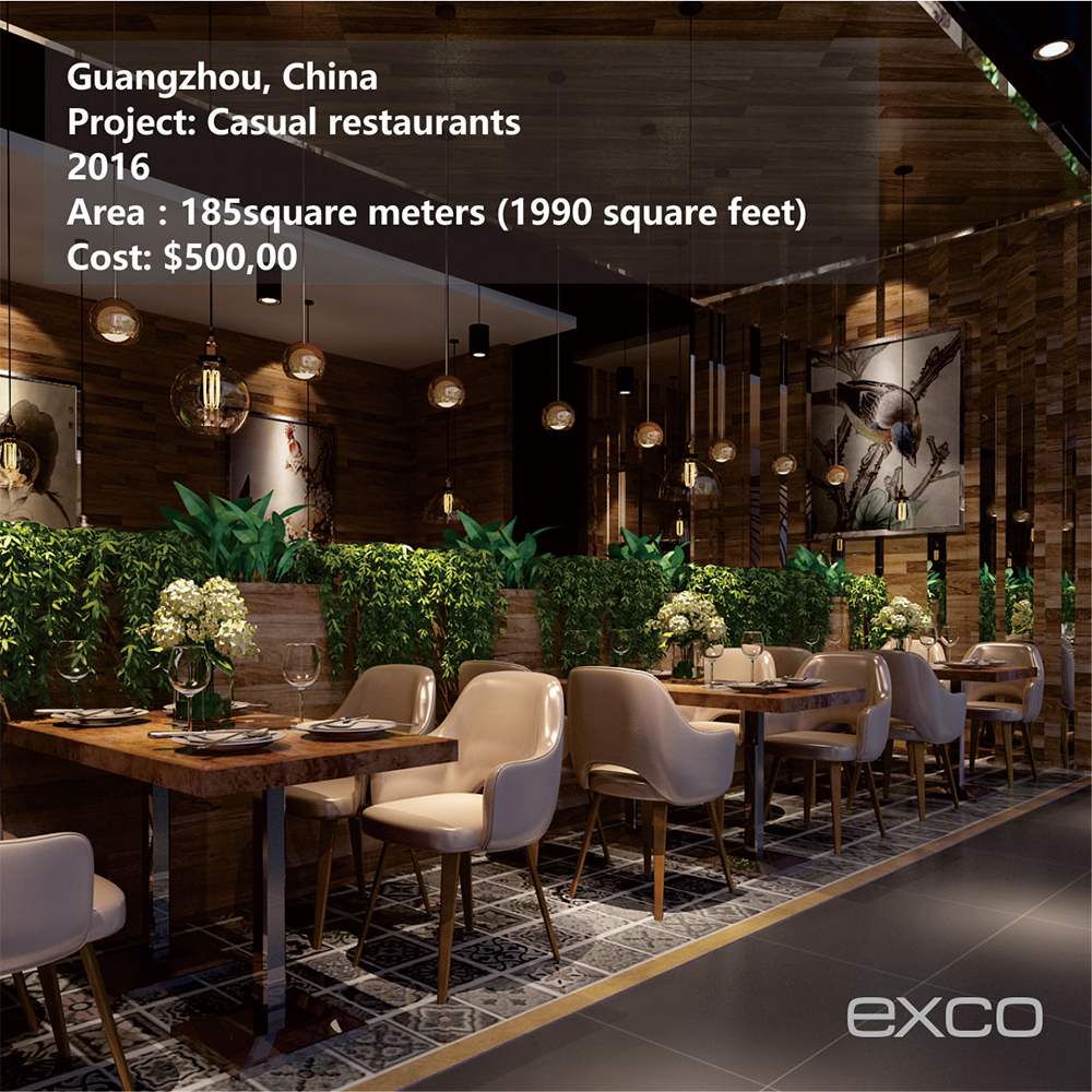 EXCO restaurant equipment price list for restaurant space decoration design service